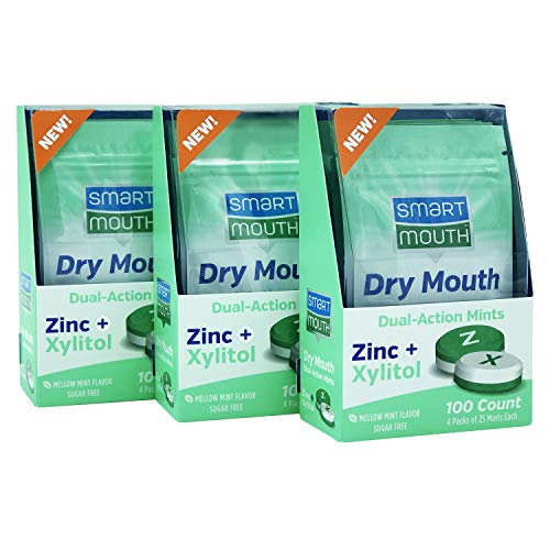 SmartMouth Dry Mouth Dual-Action Mints with Zinc + Xylitol, 100ct - 3 PACK