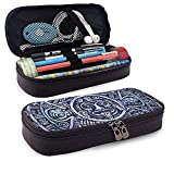 HQSL Estuche de cuero Pencil Case Bag, Smooth Zippers House Collection Vertical Stripe Pattern with Floral Application Stylish Abstract Nature Art Teal Black