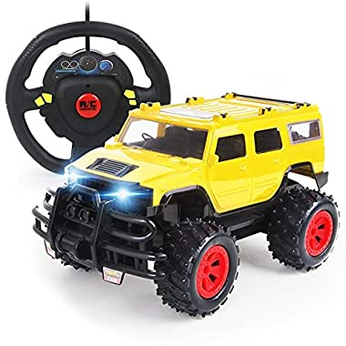 PETRLOY 1/14 Remote Control Children's Toy Car Monster Trucks 2.4GHZ RC Electric Car Radio Controlled Yellow Off-Road…