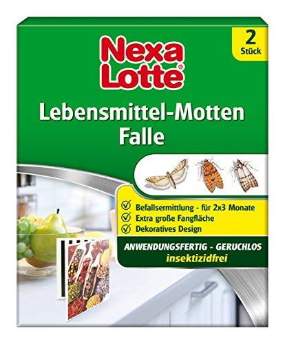Nexa Lotte Lebensmittel-Motten Falle, Mottenbekämpfung, Anwendungsfertige, insektizidfreie Falle zum erfolgreichen Abfangen von Nahrungsmittelmotten in Küchen und Vorratsräumen, 2 Fallen