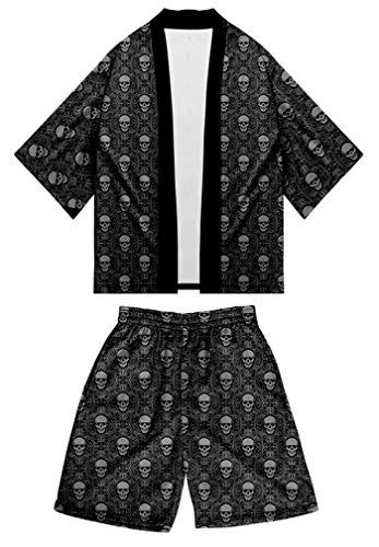 Amoma Anime Naruto - Kimono con impresión digital para hombre, chaqueta y pantalones cortos de playa Color 07 XXXXL