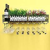 Soporte de exhibición de Hierro Forjado Estante de Vino Europeo para Colgar en la Pared Adornos creativos al revés Soporte para Copa de Vino - Negro L100 * 25CM