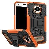 TiHen Handyhülle für Motorola Moto Z2 Play Hülle, 360 Grad Ganzkörper Schutzhülle + Panzerglas Schutzfolie 2 Stück Stoßfest zhülle Handys Tasche Bumper Hülle Cover Skin mit Ständer -Orange