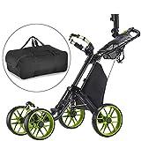 CaddyTek plegable Carrito de golf 4 ruedas con bolsa de almacenamiento -verde lima