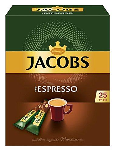 Jacobs löslicher Kaffee Espresso, 100 Instant Kaffee Sticks, 4er Pack, 4 x 25 Getränke