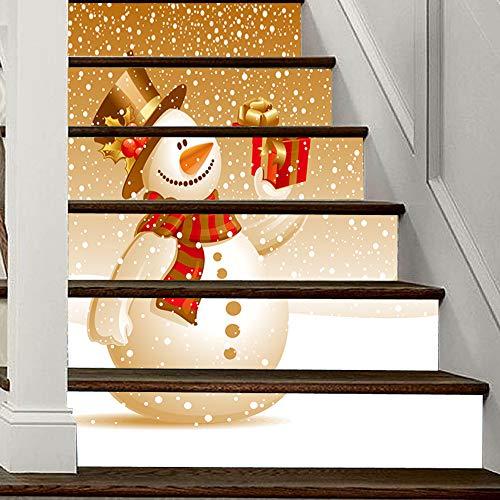Weihnachten 2020 Verkleiden Sich Persönlichkeit Treppe Aufkleber Weihnachten Schneemann Pvc Wandaufkleber 100Cm * 18Cm * 6Pcs