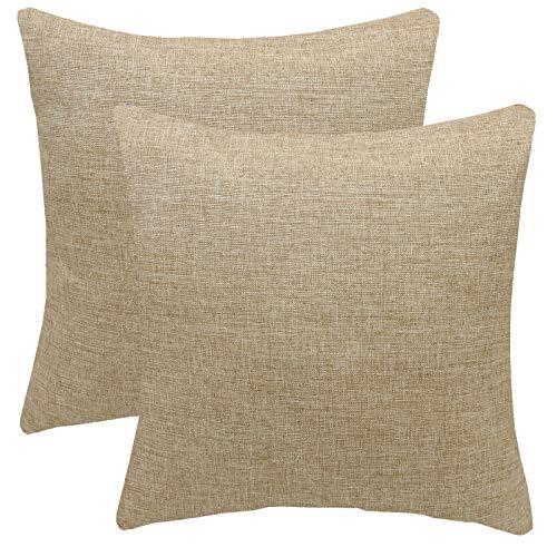 FYJS Confezione da 2 federe in morbido lino artificiale Decorazioni per la casa Fodera per cuscino quadrato per divano camera da letto 45x45cm,Beige