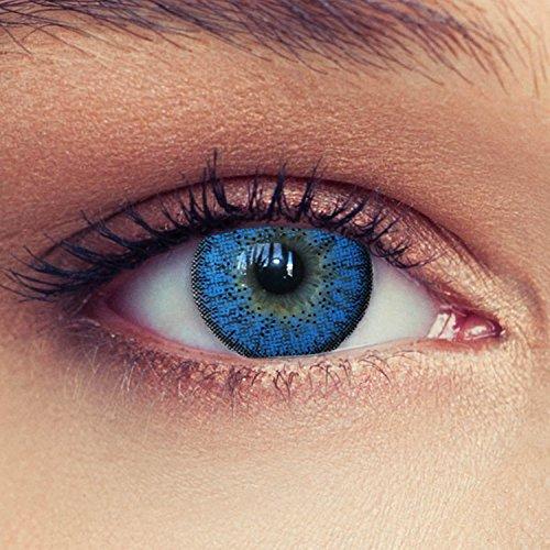 """2 Blaue Kontaktlinsen mit Stärke ozeanblaue natürlich wirkende Drei Monatslinsen, gut deckende Farbe + Gratis Behälter\""""Natural Aqua\"""" -5,50"""