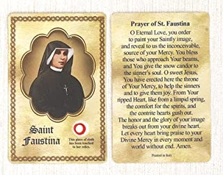 Saint/St Faustina Relic Holy Card Patron of Divine Mercy Made in Italy
