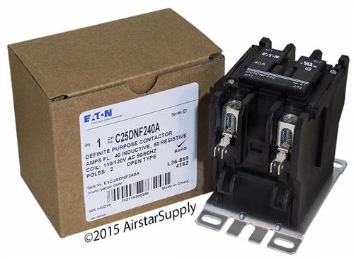 Replacement for Tyco 3100Y20T10999 - Replaced by Eaton/Cutler Hammer 50mm DP Contactor, 2-Pole, 40 Amp, 120 VAC Coil Voltage