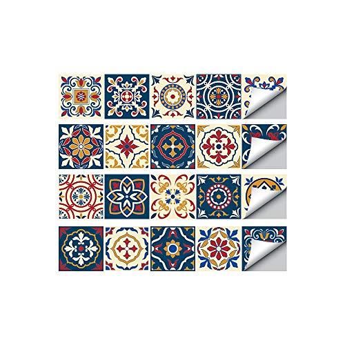 Magiin 20PCS Autoadhesivos Azulejos Decorativos DIY Pegatinas Etiquetas de Azulejos de Suelo Sticker de Estilo Retro Creativo Vintage para Baño Cocina 20x20cm (HZ028)