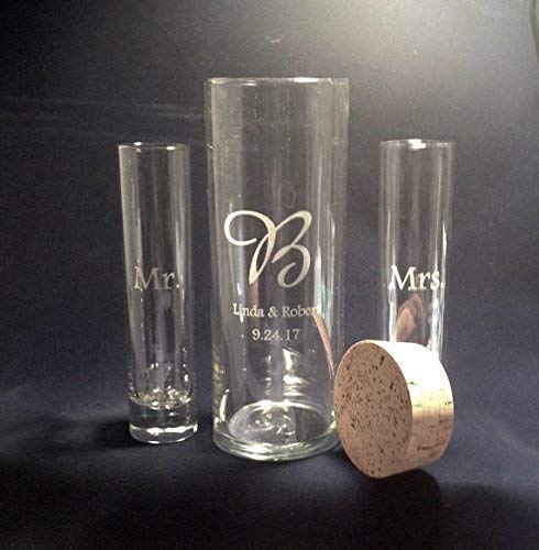 Personalized Unity Sand Ceremony, Wedding and Anniversary, Cork Stopper, Cylinder