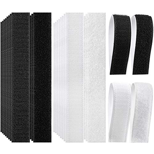 20 Pairs Adhesive Hook and Loop Tape 7 x 1 Inch Sticky Fasteners Strength Nylon Fabric Fasteners Self-Adhesive Double Sided Back Strips Heavy Duty Mounting Tapes Reclosable Fasteners, Black and White