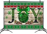 新しい7x5ftクリスマス喜びの背景クリスマスボール写真撮影のためのヴィンテージの木製の壁の背景新年のパーティーイベントバナーキッズポートレート写真ブーススタジオ小道具