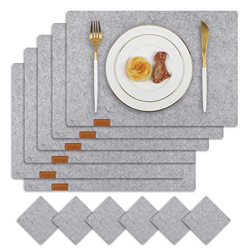 Famibay Filz Tischsets und Untersetzer 6er Set Platzdeckchen Abwaschbar Grau Filz Tischuntersetzer Platzsets Filzuntersetzer Filzmatte für Holztisch(Grau)