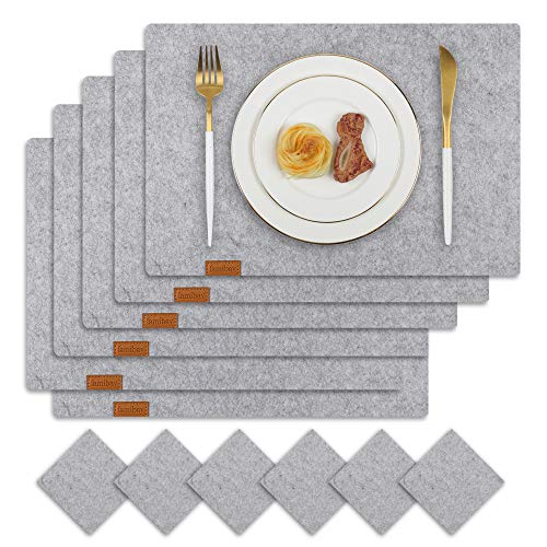 Famibay Filz Tischsets und Untersetzer 6er Set Abwaschbar Platzdeckchen Grau Platzsets Filzmatte Tisch Filzuntersetzer(Grau)