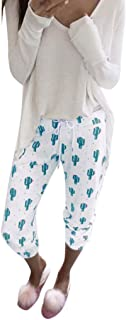 Qootent Women Cactus Print Pajama Pants Casual Spring Drawstring Pencil Trouser