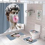 QGWMCD Duschvorhang Graubraune rosa Statuenblasen,Bad 4-teiliges Set, rutschfest, Digitaldruck, mit 12 Haken für Badezimmer einschließlich Badematte, Sockelmatte & Toilettenmatte