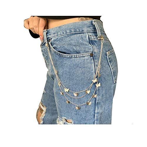 Women Butterfly Belt Waist Chain Jeans Pants Chain Multi-Layer HipHop Hook Trousers Keychain (Silver)