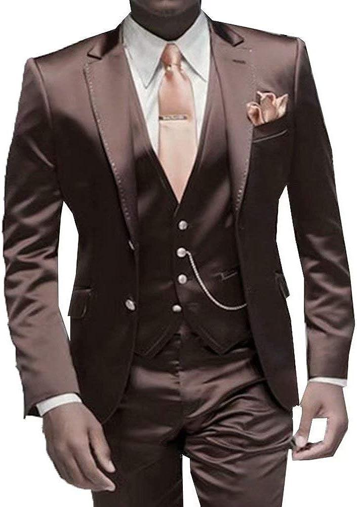 RONGKIM Men's Fashion 3 Piece Suit Set Male Business Casual Blazer Jacket Waistcoat Trousers