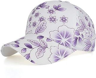 MKJNBH Flower Pattern Cotton Baseball Cap Unisex Classic Adjustable Plain Sun Hat Bend Travel Outdoor Visors