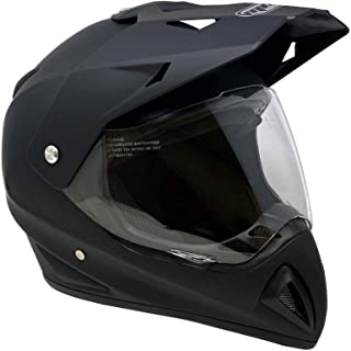 MMG Helmet Dual Sport Off Road Motorcycle Dirt Bike ATV - FlipUp Visor - 27V Matte Black (XX-Large)