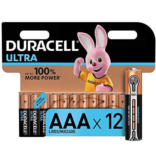 Duracell Ultra AAA con Powerchek, Pilas Alcalinas , paquete de 12 con apertura simplificada, 1,5 Voltios LR03 MX2400