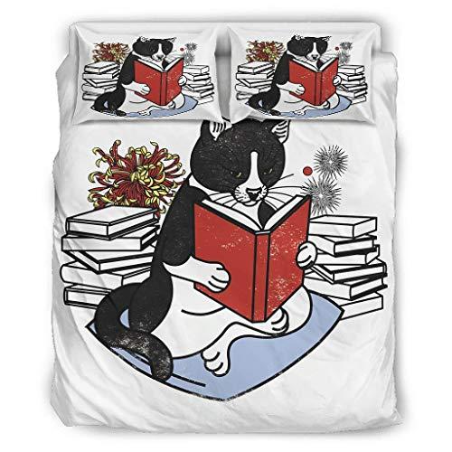 Wandlovers Juego de cama de 4 piezas, vintage, japonés, negro, gato, libro de impresión ultrasuave, juego de ropa de cama de 4 piezas, funda nórdica y funda de almohada, color blanco, 228 x 264 cm