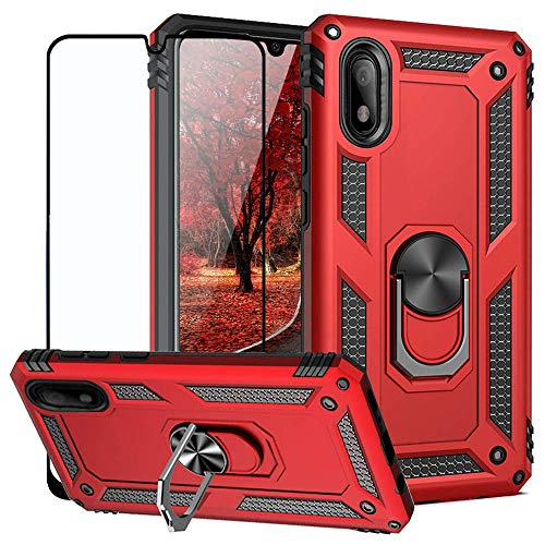 TJS Phone Case Compatible with Samsung Galaxy A10E 5.8' (Not Fit Galaxy A10/M10), with [Full Coverage Tempered Glass Screen Protector] Resistant Defender Metal Ring Magnetic Support Cover (Red)