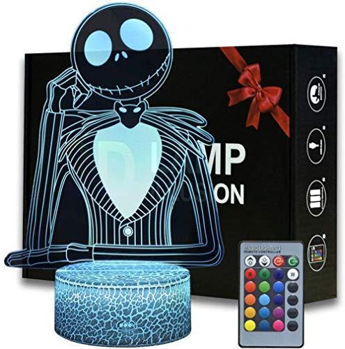 3D Illusion Lamp Led Night Light Halloween Town Pumpkin King Jack Skellington Anime Lámpara de mesa con control remoto Jack Skellington Decoración para niños Dormitorio Creativo para niños