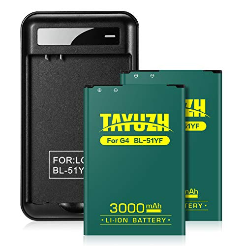 LG G4 Battery | TAYUZH 2X 3000mAh Li-ion Replacement Battery with Battery Charger for LG BL-51YF H815 H812 H811 H810 VS986 VS999 US991 F500 LS991 | LG G4 Spare Battery - 24 Month Warranty