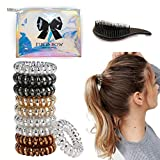 10 Set Spiral Phone Cord Plastic Hair Ties Smooth Stylish Zero Creasing Kinks For Painfree Scalp All Day Telephone Ties With Free Wet Dry Detangling Hairbrush and Beautiful Holographic Makeup Storage Bag.