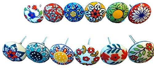 Confezione da 12 pomelli, in stile vintage, motivo floreale, in ceramica, per porta, armadio, cassetto e credenza