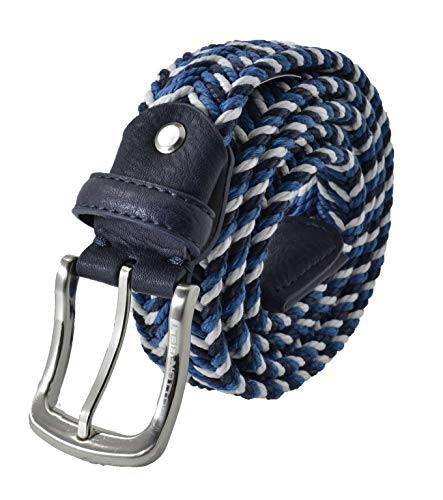 Cotton Belt, Cintura in Corda Uomo e Donna, Accorciabile (Blu e Bianco Mix)