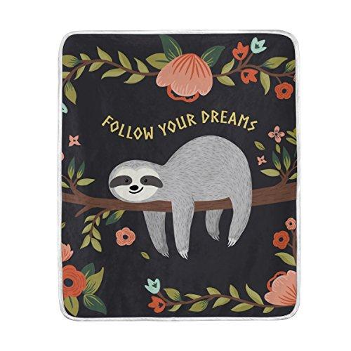 MyDaily Faultier Follow Your Dreams Überwurf, weich, warm, Couch-Decke, Polyester, Mikrofaser, leicht, 127 x 152 cm