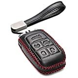 Vitodeco Genuine Leather Keyless Entry Remote Control Smart Key Case Cover with Leather Key Chain for 2019-2021 RAM 2500, 3500, 4500, 5500 (5-Button, Black/Red)
