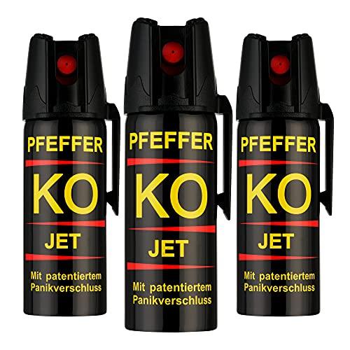 KO Pfefferspray Jet | Fog Verteidigungsspray | Abwehrspray Hundeabwehr | zur Selbstverteidigung | Sparset | Made in Germany (Jet 50 ML 3 STK)