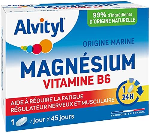 Alvityl - Magnésium + Vitamine B6 - Origine marine - Régulateur Musculaire et Bien-être - 45 comprimés 1/jour