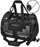 Katziela Airline Approved Pet Carrier - Rolling Portable Travel Carry Crate for Small Dog, Puppy or Cat - Soft Removable Wheeled Design with Mesh Window Sides - Airplane and TSA Compliant (Gray)