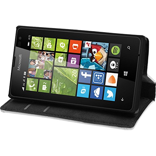 PhoneNatic Kunst-Lederhülle kompatibel mit Microsoft Lumia 435 - Book-Hülle weiß + 2 Schutzfolien