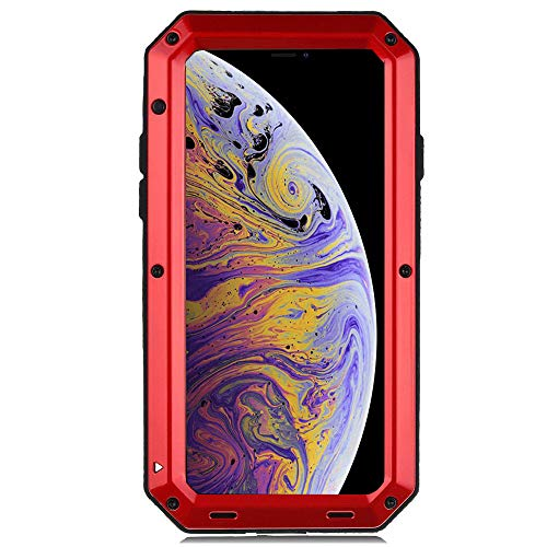 iPhone XR Case, CarterLily Full Body Shockproof Dustproof Waterproof Aluminum Alloy Metal Gorilla Glass Cover Case for Apple iPhone XR 6.1 inch (Red)