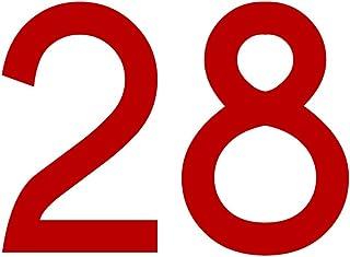 Zahlenaufkleber Nummer 28, rot, 10cm (100mm) hoch, Aufkleber mit Zahlen in vielen Farben + Höhen, wetterfest