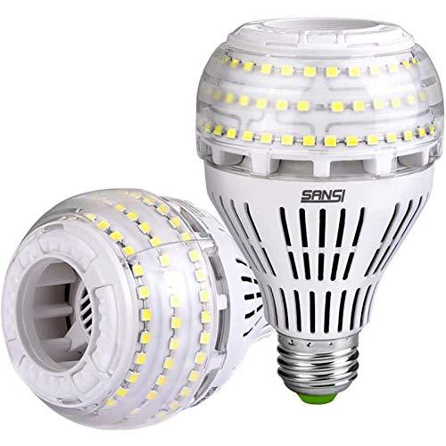 SANSI E27 LED Kaltweiß Lampe, 27W (ersetzt 250W Glühbirne) Dimmbar LED Leuchtmittel, 5000 Kelvin 4000 Lumen, Superhell LED Leuchtmittel für Tischlampe, Deckenleuchte, Garage, Schlafzimmer, 2er-Pack