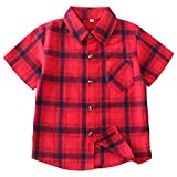 Boys Button Down Short Sleeve Shirts Toddler Buffalo...