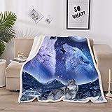 Holawakaka Wolf Bedding Mountain Moon Wolves Print Sherpa Fleece Blanket Throw (Mountain Moon Wolf, Twin--60x80 inches)