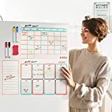 Magnetic Calendar for Refrigerator Set of 3 - Dry Erase Fridge Calendar with Monthly, Weekly & Daily Family Planner, Organizer & List. 4 Makers & Eraser with Strong Magnets