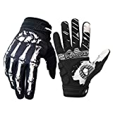 Cycling Gloves for Men Women, Bike Gloves with Shock-Absorbing Gel Pad, Anti-Slip & Touchscreen, Motorcycles Riding, MTB, Road Bike Skeleton Bones Gloves (New White, XL(Palm Width 3.94''-4.21''))