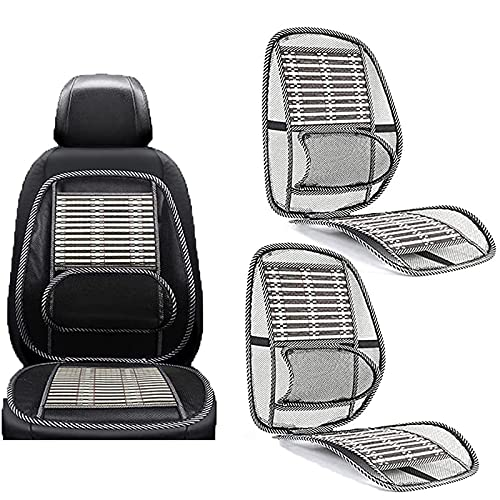 ZUYOKI Ergonomic Bamboo Car Seat Pad, Car Seat Office Chair Bamboo Chip Cover, Breathable Lumbar Cushion Mesh Support Cushion Pad, for Office Chair/Car Seat/Back Pain Relief (2Pcs)