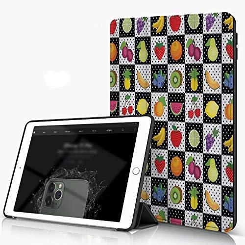 Funda para iPad 9.7 para iPad Pro 9.7 Pulgadas 2016,Cocina Frutas y Verduras Naturaleza con Puntos Cuadrados de Ajedrez Diseño de Arte,,incluye soporte magnético y funda para dormir/despertar