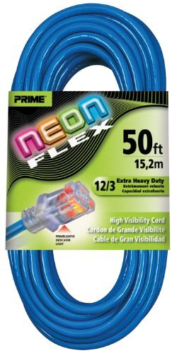 Prime Wire & Cable NS514830 50-Foot 12/3 SJTW Flex High Visibility Extra Heavy Duty Outdoor Extension Cord with Prime light Indicator Light, Neon Blue by Prime Wire & Cable